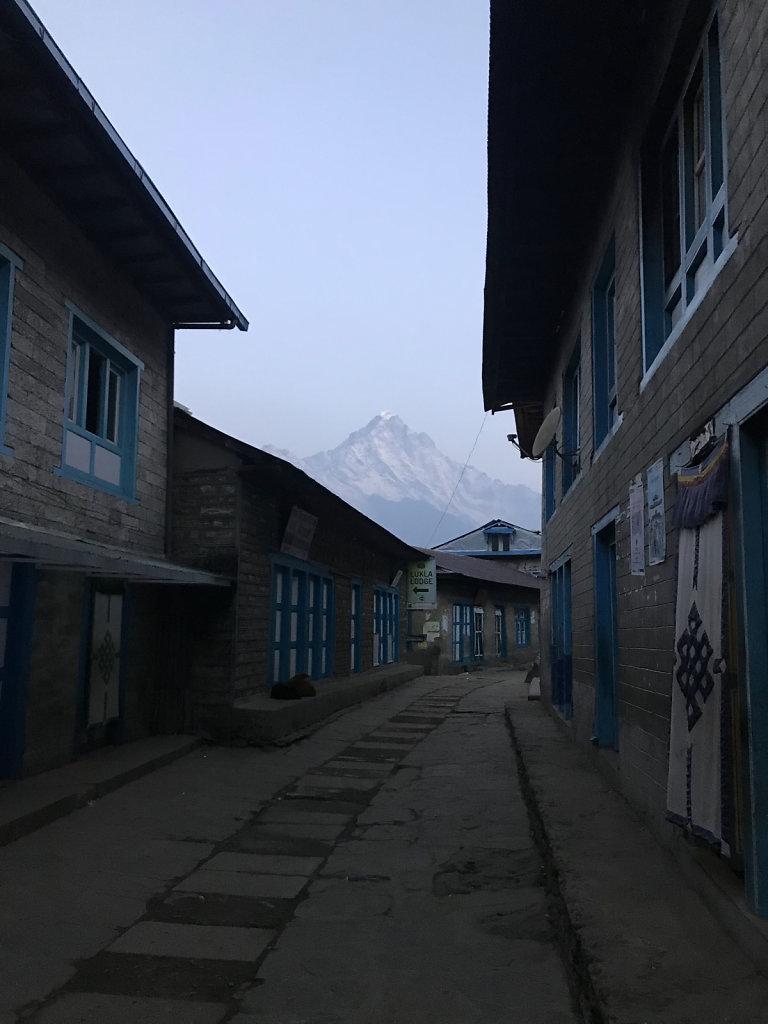 Lukla morning street view